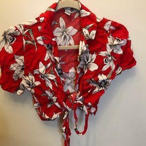 tourist flower wrap top !!